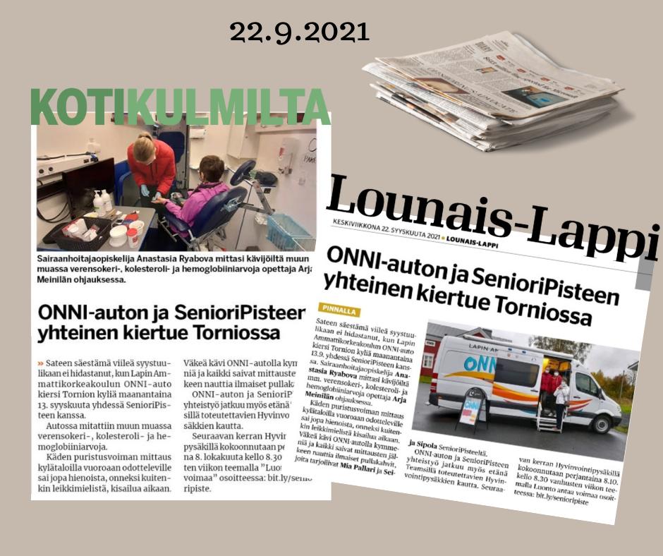 ONNI-auton ja SenioriPisteen kyläkierros 13.9.